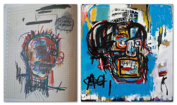 A gauche, un dessin attribué à Basquiat, refusé à la vente par la maison Pierre Bergé & Associés en 2018, mais exposé à Nuits-Saint-Georges en 2020. A droite, une toile de Basquiat vendue 110 millions de dollars en 2017. (Isabel Pasquier / Radio France et SOTHEBY'S / HANDOUT / EPA / MAXPPP)