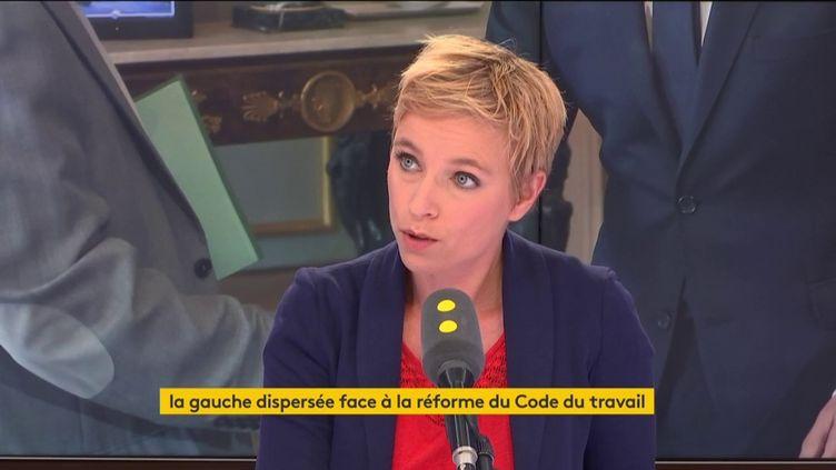 Clémentine Autain, samedi 16 septembre, sur franceinfo. (FRANCEINFO)