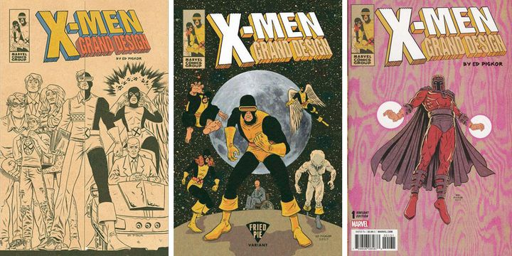 "Trois couvertures alternatives de ""X-Men Grand Design"" signées Ed Piskor.  (Ed Piskor / Marvel)"