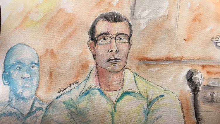 Jonathan Guyot, le principal accusé du procès, à la barre du tribunal correctionnel de Paris, en mars 2017. (ELISABETH DE POURQUERY / FRANCEINFO)