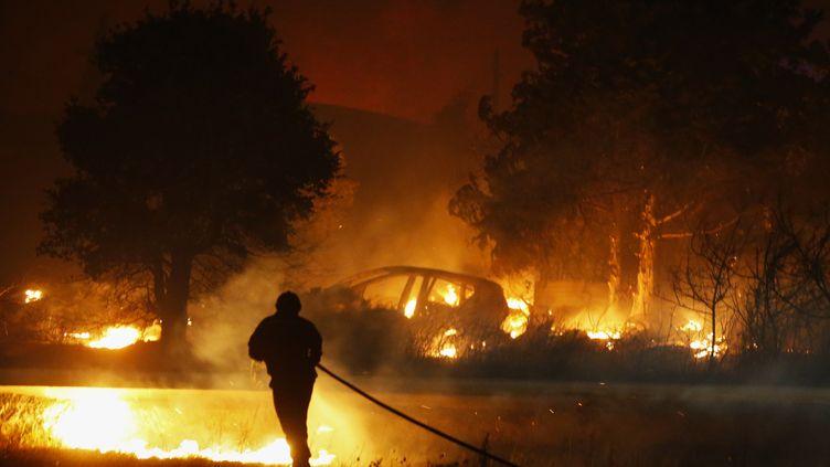 Un violent incendie à Biguglia (Haute-Corse), le 24 juillet 2017. (PASCAL POCHARD-CASABIANCA / AFP)