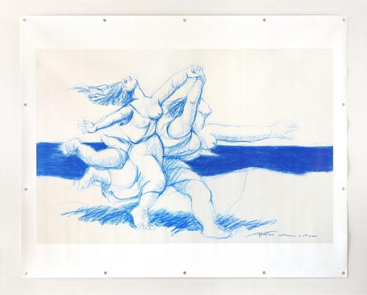 Ernest PIGNON‐ERNEST, Petit hommage au plus grand, 2016, photographie d'un pastel sur toile, 160 x 200 cm  (Art Absolument)