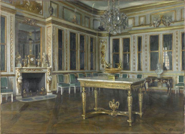 """Maurice Lobre, """"La bibliothèque du Roi à Versailles"""", 1895,Paris, musée d'Orsay (© musée d'Orsay (distr. RMN - Grand Palais) / Patrice Schmidt)"""