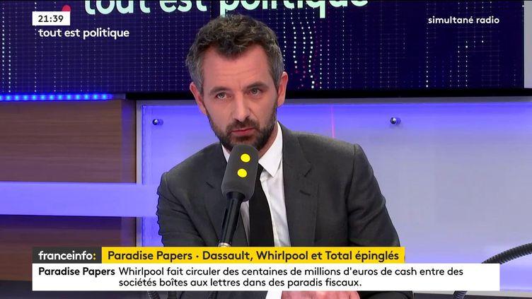 Le député LREM d'Ille-et-Vilaine et premier questeur de l'Assemblée nationale, Florian Bachelier, était l'invité de Tout est politique, mardi 7 novembre sur franceinfo. (FRANCEINFO / RADIOFRANCE)