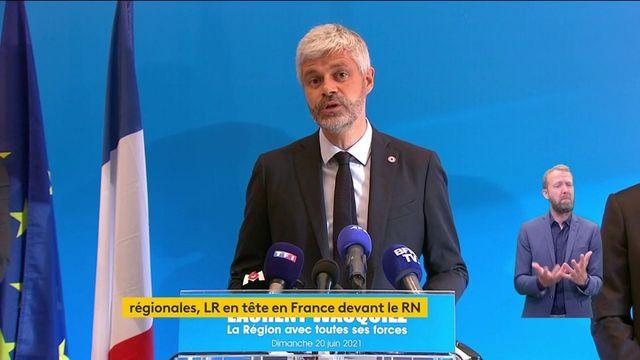 """Elections régionales et départementales :  """"ce soir, c'est un choix net pour un cap clair"""", affirme Laurent Wauquiez (LR), arrivé largement en tête au premier tour en Auvergne Rhône-Alpes, selon notre estimation Ipsos/Sopra Steria"""