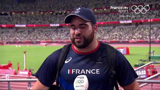 """""""Je suis un peu déçu, je venais pour une médaille"""" a réagi Quentin Bigot après sa 5e place sur la finale du lancer du marteau."""