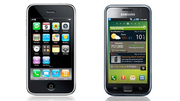 A gauche, l'iPhone d'Apple, à droite le Galaxy S de Samsung (DR)