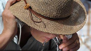 Une femme boit dans une fontaine à Strasbourg, le 20 août 2012. La ville n'est plus touchée par la canicule mardi. (FREDERICK FLORIN / AFP)