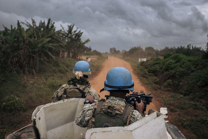 Monusco Blue Helmets Patrol & nbsp;  on September 15, 2020 on the road in Ituri (ALEXIS HUGUET / AFP)