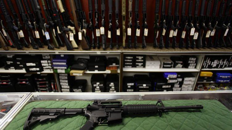 Un fusil d'assautBushmaster AR15, modèle qui a été utilisé lors de la tuerie du Connecticut le 14 décembre 2012. (JOSHUA LOTT / GETTY IMAGES NORTH AMERICA /AFP)