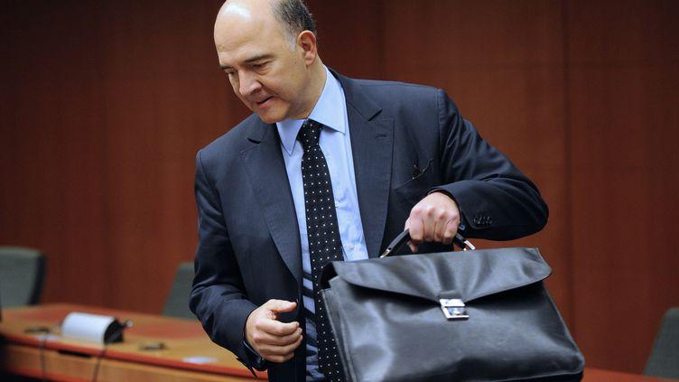 Pierre Moscovici, le ministre de l'Economie et des Finances, à la réunion de l'eurozone, à Bruxelles, le 14 novembre 2013 (JOHN THYS / AFP)