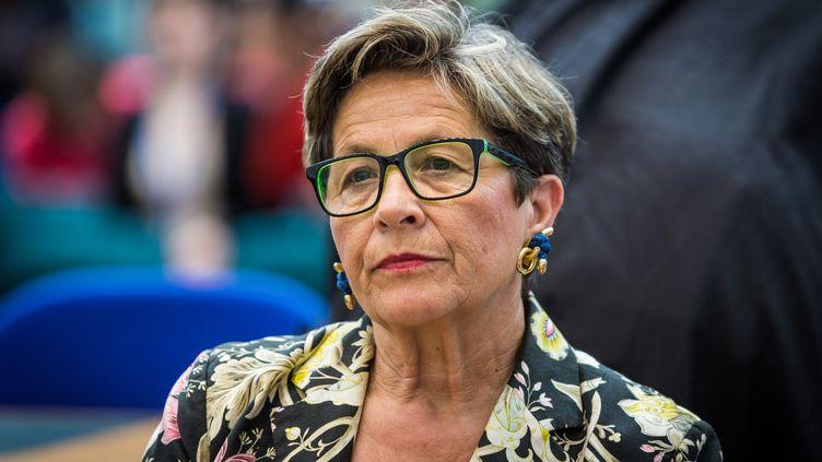 Viviane Lambert à la cour européenne des droits de l'Homme à Strasbourg (Bas-Rhin), le 5 juin 2015. (CLAUDE  TRUONG-NGOC / CROWDSPARK / AFP)