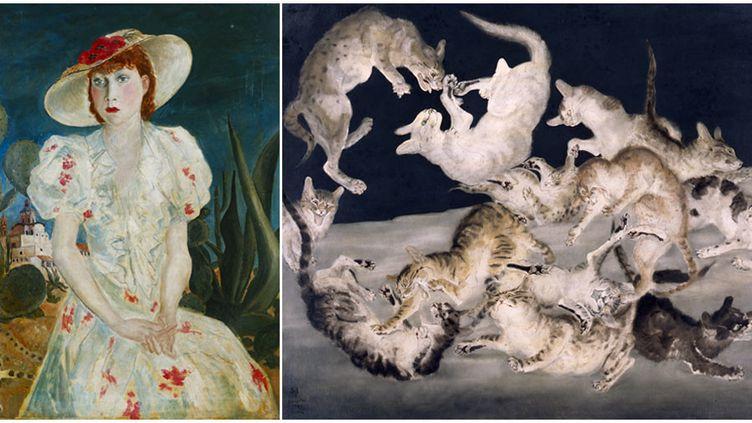 "Foujita : à gauche, ""Madeleine au Mexique"", 1934, The National Museum of Modern Art, Kyoto - A droite, ""Bataille de chats"", 1940, The National Museum of Modern Art, Tokyo  (A gauche et à droite © Fondation Foujita / Adagp, Paris, 2018)"
