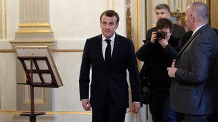 Emmanuel Macron, le 19 février 2019 à l'Elysée (Paris). (YOAN VALAT / POOL)