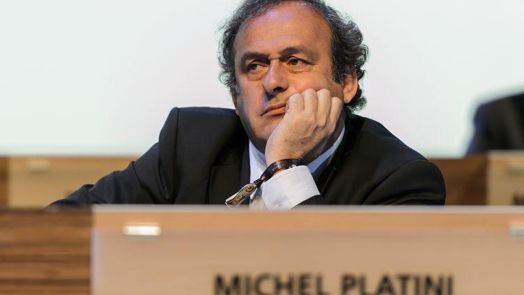 Michel Platini lors du 64e congrès de la Fifa, le 11 juin 2014, à Sao Paulo (Brésil). (FABRICE COFFRINI / AFP)