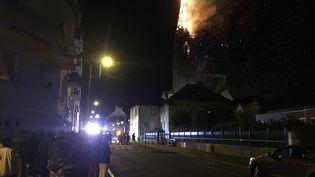 L'église Sainte-Thérèse de Rennes incendiée, le 31 juillet 2018. (MARION LOMPAGEU / TWITTER)