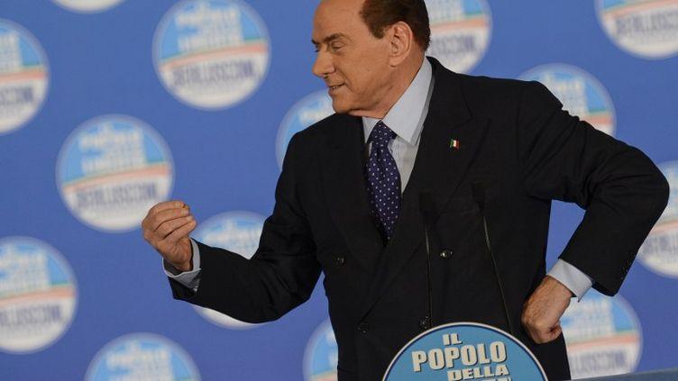 L'ancien président du Conseil italien,Silvio Berlusconi, lors d'un meeting, le 7 février 2013, à Rome. (ANDREAS SOLARO / AFP)