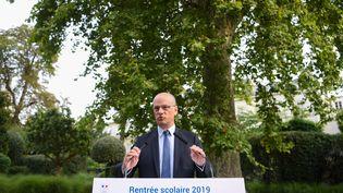 Le ministre de l'Éducation nationale, Jean-Michel Blanquer, a donné mardi 27 août sa conférence de rentrée. (CHRISTOPHE ARCHAMBAULT / AFP)