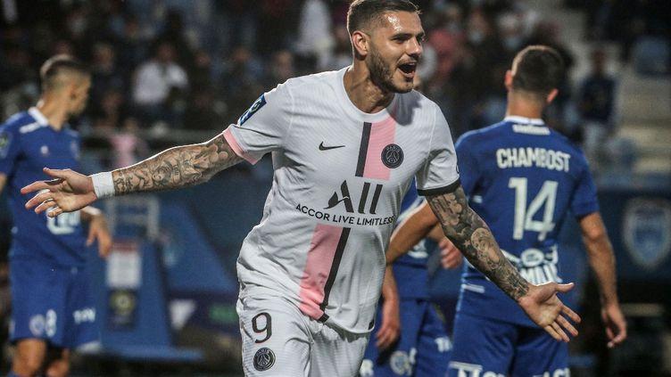Mauro Icardi a marqué son premier but de la saison face à Troyes, samedi 7 août. (FRANCOIS NASCIMBENI / AFP)