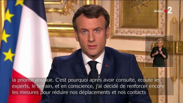 """Coronavirus : Emmanuel Macron annonce la réduction des déplacements et contacts """"au strict nécessaire"""""""