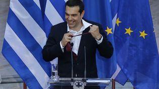 Le Premier ministre grec Alexis Tsipras lors d'un discours au parlement à Athènes, le 22 juin 2018. (AYHAN MEHMET / ANADOLU AGENCY)