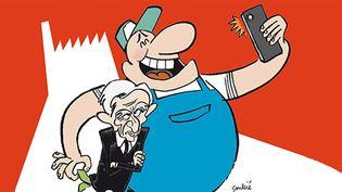 """Extrait de l'affiche de """"Merci Patron!"""", dessin signé Soulcié.  (http://www.soulcie.fr/)"""