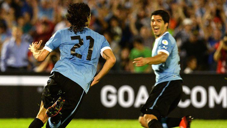 Edinson Cavani et Luis Suarez sous les couleurs uruguayennes  (PABLO PORCIUNCULA / AFP)
