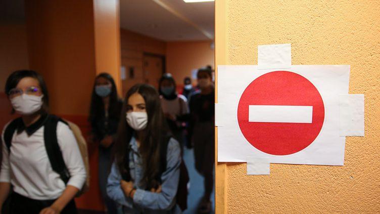 Rennes, 2 septembre 2020. Rentree scolaire au Collège Echange de Rennes, placée sous le signe du masque obligatoire en classe, et des mesures sanitaires. (LE TELEGRAMME / MAXPPP)