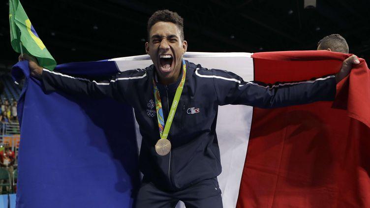 Le boxeur Tony Yoka, après son titre olympique en finale des super lourds à Rio (FRANK FRANKLIN II/AP/SIPA / AP)