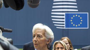 La directrice générale du FMI, Christine Lagarde, lors d'un Eurogroupe, le 27 juin 2015 à Bruxelles (Belgique). ( YVES HERMAN / REUTERS)