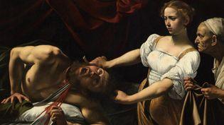 """""""Judith et Holopherne"""" (1596-1598) Le Caravage (détail, Rome, musee d'art antique du palais Barberini) : autre version que celle attirbuée au Caravage datant de 1607 et trouvée dans un grenier en France, présentée à Londres le 28 février 2019  (Leemage  )"""