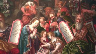Une peinture religieuse du 17ème siècle exposée à l'abbaye de l'Epau dans la Sarthe. (FRANCEINFO)