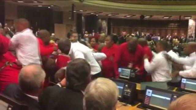 Afrique du Sud : bagarre générale au Parlement durant le discours à la Nation du Président  Zuma