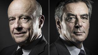 Alain Juppé et François Fillon, candidats au second tour de la primaire de la droite et du centre. (JOEL SAGET / AFP)