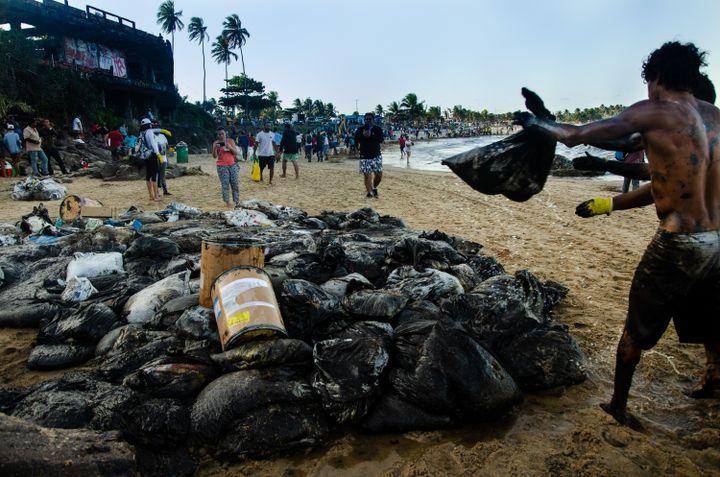 Des habitants de Cabo de Santo Agostinho (Etat du Pernambouc) nettoient eux-mêmes les plages du pétrole qui souille leurs côtes. (MARCELA CINTRA / SALVE MARACAIPE)