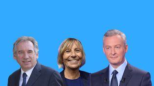 François Bayrou, Marielle de Sarnez et Burno Le Maire. (ANSELME CALABRESE / VINCENT WINTER / FRANCEINFO)