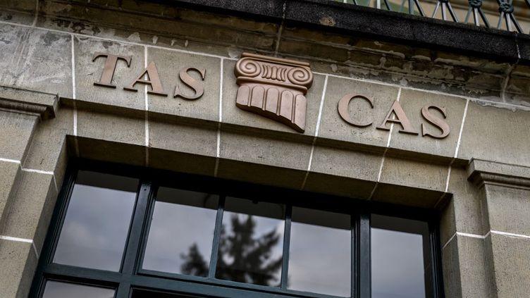 La façade du Tribunal arbitral du sport, à Lausanne (Suisse), le 17 décembre 2020. (FABRICE COFFRINI / AFP)