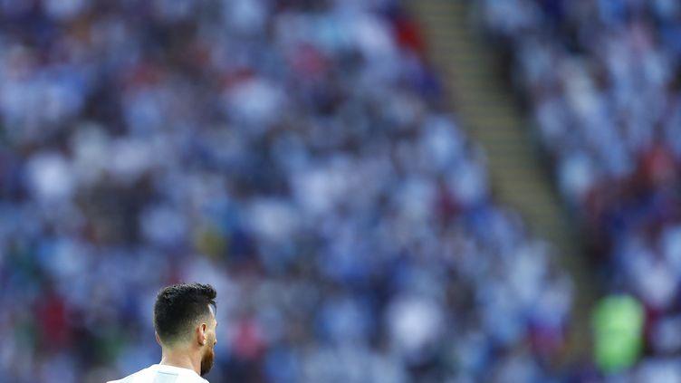 Messi devient le joueur comptant le plus de sélections avec l'Argentine, il dépasse Javier Mascherano. (BENJAMIN CREMEL / AFP)