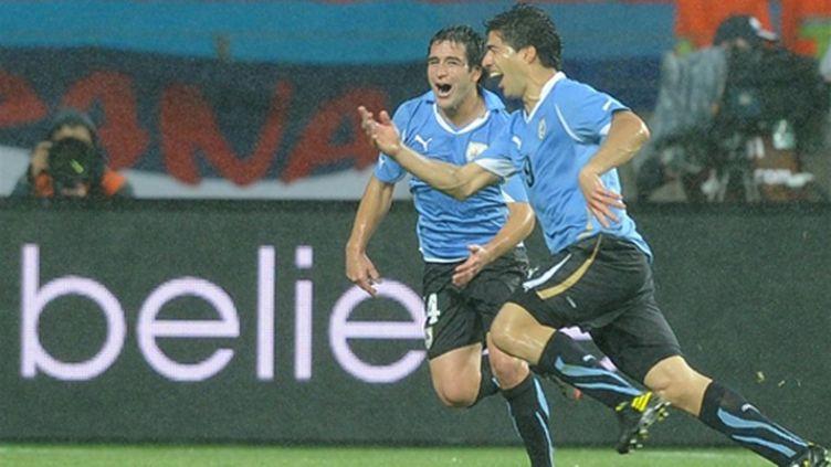 La joie du buteur uruguayen Luis Suarez (JUNG YEON-JE / AFP)