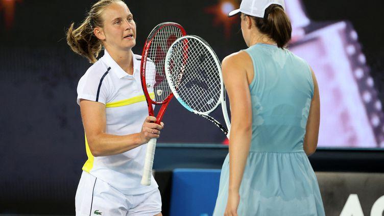 Fiona Ferro a été éliminée en demi-finale du tournoi de Lyon. (DAVID GRAY / AFP)