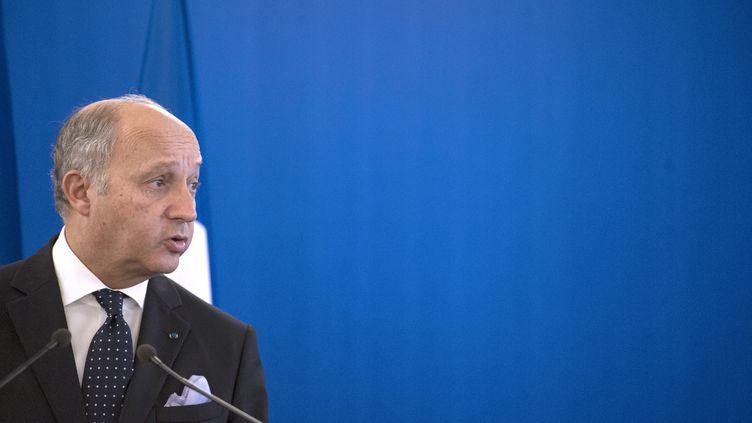 Le ministre des Affaires étrangères, Laurent Fabius, en conférence de presse, à Paris, le 30 septembre 2013. (FRED DUFOUR / AFP)