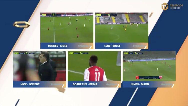 Mosaïque des matches de la 17e journée de Ligue 1 retransmis par la chaîne Téléfoot mercredi 23 décembre 2020. (CAPTURE ECRAN TELEFOOT)