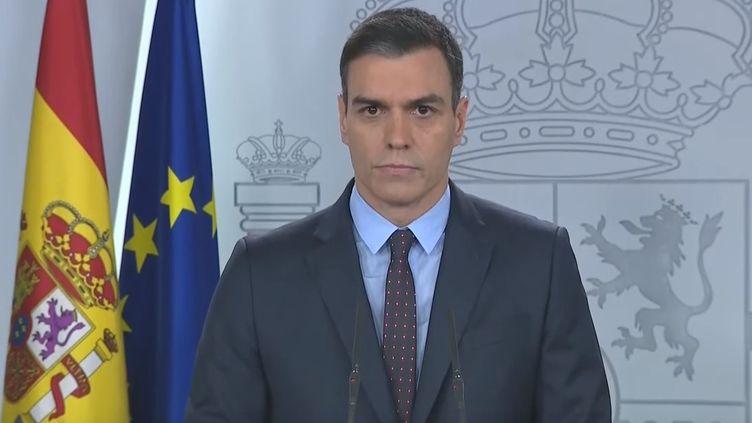 Le Premier ministre espagnol, Pedro Sanchez, lors de son allocution le 21 mars 2020 (Capture d'écran YouTube)