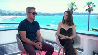 Matt Damon et Camille Cottin, le 8 juillet 2021 à Cannes (Alpes-Maritimes). (FRANCE 2)