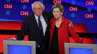 Les candidats à la primaire démocrate Bernie Sanders et Elizabeth Warren, le 30 juillet 2019, à Detroit (Michigan). (JUSTIN SULLIVAN / GETTY IMAGES NORTH AMERICA / AFP)