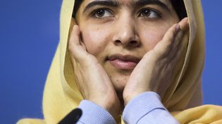 Malala Yousafzai, prix Nobel de la paix 2014, lors d'une conférence de presse à Oslo (Norvège), le 11 décembre 2014. (ODD ANDERSEN / AFP)