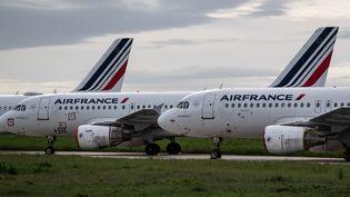 Des avions de la compagnie Air France sur le tarmac de l'aéroport Roissy-Charles de Gaulle (Val-d'Oise), le 30 avril 2020. (BERTRAND GUAY / AFP)