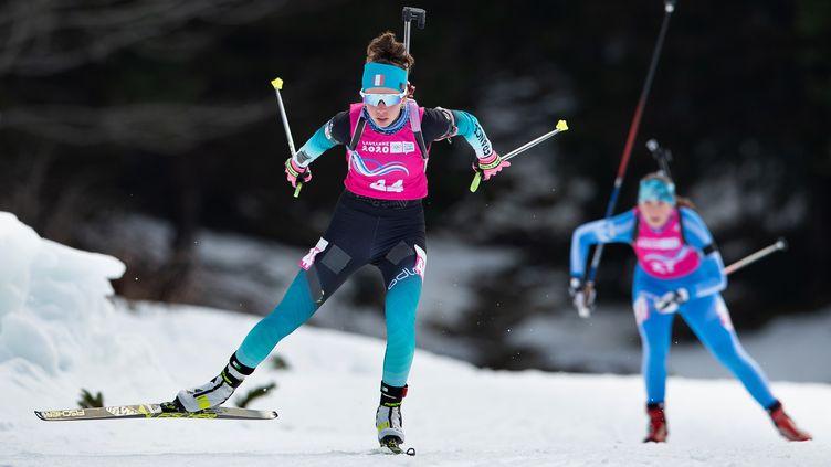 La biathlète française Fany Bertrand, lors des Jeux olympiques de la jeunesse, le 14 janvier 2020. (BEN QUEENBOROUGH / OIS/IOC / AFP)
