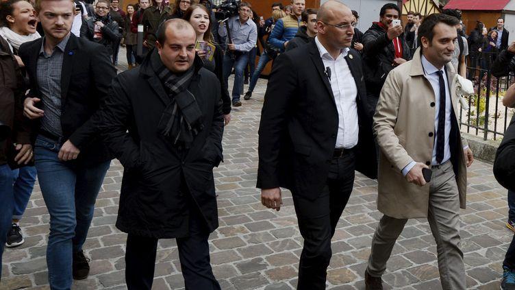 David Rachline et Florian Philippot, le 5 mai 2017, lors d'une visite de la cathédrale de Reims. (BERNARD SIVADE / MAXPPP)