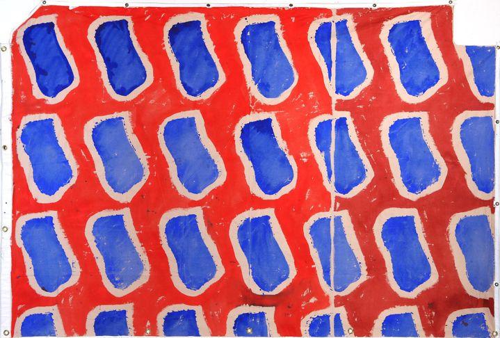 Claude VIALLAT, Hommage au Front populaire, 2016, acrylique sur bâche de toile, 160 x 200 cm  (Art Absolument)